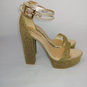 NWT Gorgeous Gold Glitter Platform Heels